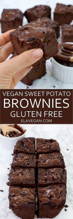 These vegan sweet potato brownies are low in fat, delicious and healthy. The rec. These vegan sweet potato brownies are low in fat, delicious and healthy. The recipe is plantbased, gluten free and refined sugar free Desserts Végétaliens, Vegan Dessert Recipes, Gluten Free Desserts, Delicious Desserts, Yummy Food, Dinner Recipes, Brownie Recipes, Healthy Recipes, Health Desserts
