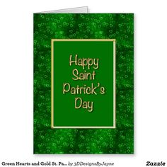 Green Hearts and Gold St. Patrick's Day Greeting Greeting Card
