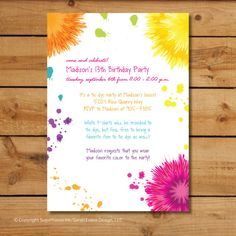 Birthday Party Invitations  Tie Dye Colorful by sugarhouseink, $15.00