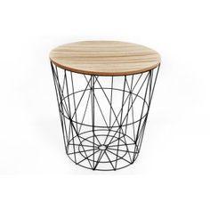 bout de canap en m tal filaire plateau bois hanjel set. Black Bedroom Furniture Sets. Home Design Ideas
