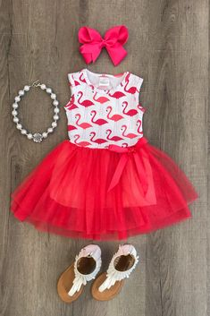 New Newborn Kids Baby Girl Flamingo Sleeveless Dress Tutu Skirt Clothes Sundress Princess Tutu Dresses, Baby Tutu Dresses, Baby Dress, Toddler Tutu, Toddler Outfits, Toddler Girl, Baby Girls, Infant Toddler, Sundress Outfit