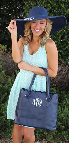 Scalloped Tote Purse and Wide Derby Hat from Marleylilly.com! #love #ootd #preppy