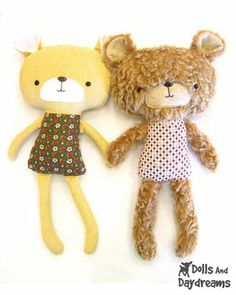 * Dolls And Daydreams - Doll And Softie PDF Sewing Patterns: Teddy Bear Softie Stuffed Toy PDF Sewing Pattern Finished!