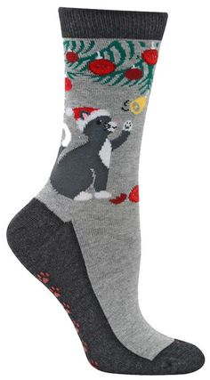 Crew length women's socks with a cat batting at a decorated tree with non-skid bottoms that look like paw prints! Fits a women's shoe 5-10.