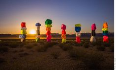 Internationally renowned #Swiss artist #UgoRondinone 's Seven Magic Mountains is a large-scale site-specific public art #installation located Jean Dry Lake and Interstate 15, approx. ten miles south of Las Vegas, Nevada. Comprised of seven towers of colorful, stacked boulders standing more than thirty feet high, #SevenMagicMountains is situated within the Ivanpah Valley adjacent to Sheep Mountain and the McCullough, Bird Spring, and Goodsprings ranges of mountains.