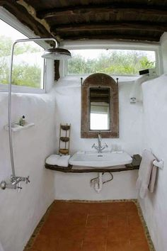 Easy shower & vanity solution for the earthship house, this would be it's own room, toilet room is separate! Outdoor Baths, Outdoor Bathrooms, Outdoor Showers, Earth Bag Homes, Toilet Room, Natural Homes, Natural Building, Earthship, My Dream Home