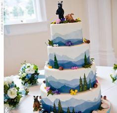 Blue smokey mountains themed wedding cake