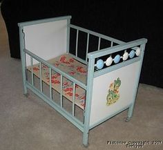 Vintage Wood Baby Doll Crib Drop Side Spinners Donkey Burro 1950 S 60