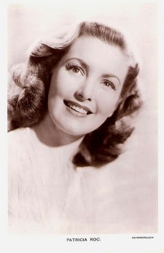 """""""Fresh-faced Patricia Roc (1915-2003) was between 1943 and 1953 one of Britain's top 10 box office stars. The elegant, well spoken actress seemed the epitome of the English rose. She had international success in such Gainsborough costume dramas as Madonna of the Seven Moons (1945) and The Wicked Lady (1945), and in When the Bough Breaks (1947), in which she played an unmarried mother."""" #vintage #British #actress #1940s #1950s #movies #films"""