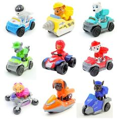 Set Paw Patrol Roles Action Figure Toys with Pull-back Vehicles Blaze The Monster Machine, Paw Patrol Toys, 21st Birthday Decorations, Lego Room, Charmander, Figure Model, Toy Trucks, How To Train Your Dragon, Legos