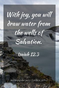 With joy, you will draw water from the wells of Salvation. Isaiah 12.3 #whileiponder #Bible