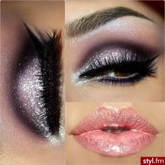 Purple glitter eye makeup