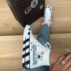 Converse Hi x Off-white Canvas High-top Sneakers Off White Converse, Converse 70s, White Nike Shoes, Converse Shoes, Moda Sneakers, High Top Sneakers, Crazy Shoes, Me Too Shoes, Balenciaga