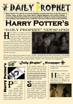 newspaper article template google docs harry potter daily prophet newspaper templates