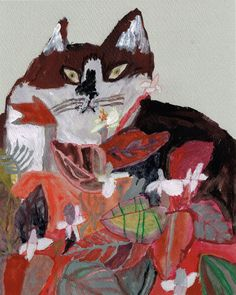 Miroco Machiko:  art illustration kitty cat.  Love the colors in this painting.