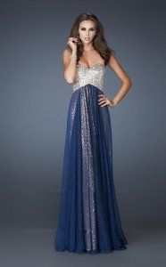 Navy Long Sequins Overylay La Femme 18898 Prom Dress