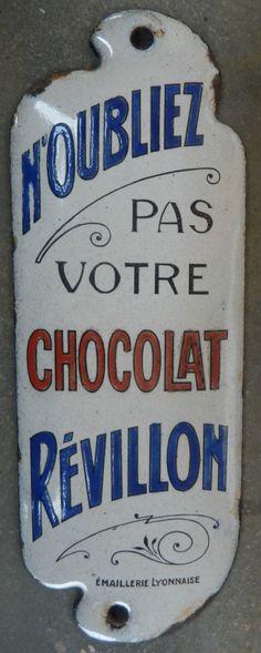 Plaque Émaillée Ancienne DE Propreté Chocolat Révillon Publicitaire Bistrot   eBay
