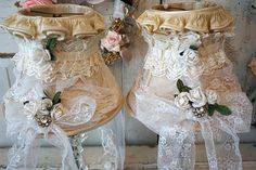 Crystal table lamps set French shabby cottage lampshades adorned vintage lace white flowers lighting lamp shades decor anita spero design by anitasperodesign. Explore more products on http://anitasperodesign.etsy.com