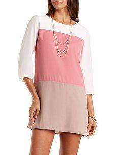 Color Block Chiffon Shift Dress: Charlotte Russe