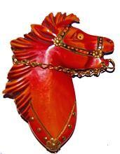 Fierce Bakelite Horse Head Brooch