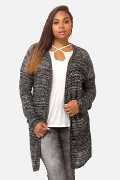 Plus Size Danni Marled Long Cardigan Trendy Plus Size Clothing, Plus Size Outfits, Long Duster, Plus Size Cardigans, Fashion To Figure, Long Cardigan, Work Wear, Womens Fashion, Sexy
