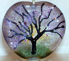 WSTGA~LIGHT THROUGH BLOSSOMS~TREE SUN handmade lampwork focal glass bead SRA #WindSweptTreeGlassArt #Lampwork By Molly Cooley