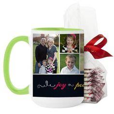 Joy Peace Love Family Mug, Green, with Ghirardelli Peppermint Bark, 15 oz, Black