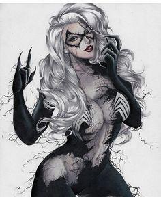 Venomized Black Cat by Layne Marvel Women, Marvel Girls, Comics Girls, Marvel Comics Art, Marvel Heroes, Anime Comics, Black Cat Marvel, Comic Books Art, Comic Art
