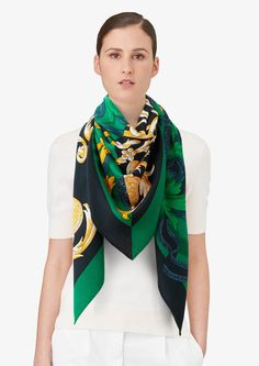 Hermes cashmere and silk shawl, hand-rolled, 55