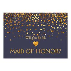Navy Gold Glitter Heart WILL YOU BE MY MAID OF HONOR? Wedding Invite Invitation   #maidofhonor #wedding #invite #gold