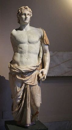 "3rd century BC statue of Alexander the Great, signed ""Menas"". Istanbul Archaeology Museum. Minor photoshop work to remove or reduce blemishes, a crack, etc."