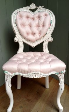 Shabby Chic pretty in pink heart chair.  I love their stuff! #shabbychicpink #VanityChair