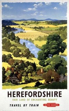 Poster produced by British Railways (BR) to promote train services to Herefordshire. Artwork by A J Wilson Print Framed, Poster, Canvas Prints, Puzzles, Photo Gifts and Wall Art Posters Uk, Train Posters, Railway Posters, Poster Ads, Advertising Poster, Vintage Travel Posters, Poster Prints, Retro Posters, Vintage Ski