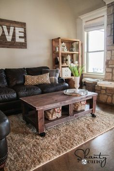 Learn how to build a coffee table on wheels! FREE plans and tutorial at Shanty-2-Chic.com