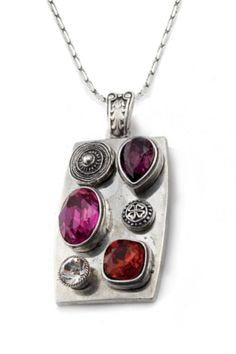 Add some flair to your outfit with this burnished silver enhancer encrusted with Fuchsia, Amethyst and Indian Red Swarovski Crystals. Metal Clay Jewelry, Jewelry Design, Designer Jewellery, Precious Metal Clay, Dog Tag Necklace, Swarovski Crystals, Amethyst, Pendant Necklace, Metals