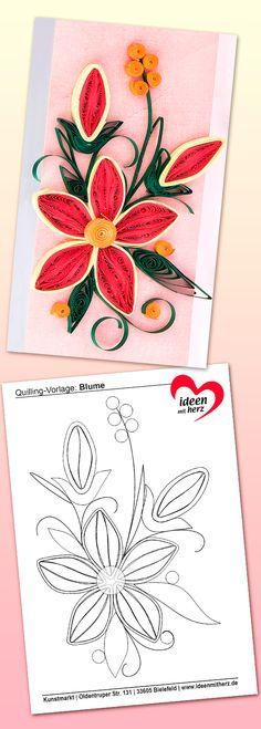 Quilling-Vorlage Blume: Kostenlos zum Herunterladen und Ausdrucken