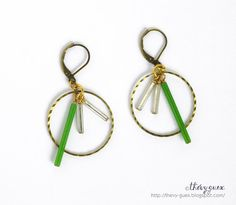 Vintage Tube Glass Bead Dangle Earrings/Dainty by thevyguex, $26.00