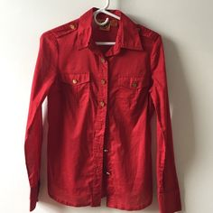 Red Tory Burch with gold buttons Red Tory Burch size 4 with gold buttons 100% cotton Tory Burch Tops Button Down Shirts