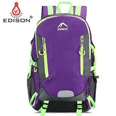 Edison Large Capacity New Design Lightweight 18inch for Hiking Backpack Waterproof with Rain Cover Purple >>> Learn more by visiting the image link. #BackpacksandBags
