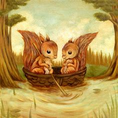 The Walnut Boat Ride - Squirrels, Childrens Art, Nursery Art, Woodland, Forest, Spring, Cute, Kids Art, Baby