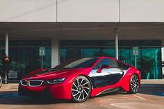 Instagram media by twmhtx - Regular and red chrome wrap with gloss black roof and trim. We give the gift of ___________________________________________ #twmhtx #werunhtx #bmw #i8 #carwraps #paintisdead #vinyl