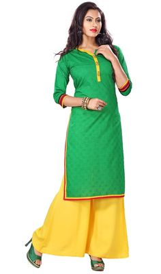 Epitomize a grand look with this green color shade cotton kurti. The desirable lace and resham work across the attire is awe-inspiring.  #lateststyletunics #straighttunic #greencolorkurti