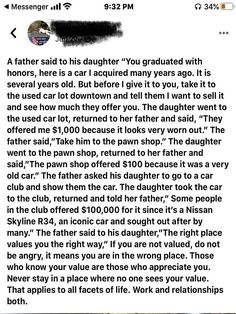 Valuable life lessons by a father to his daughter.  #know #value #life #lessons #father #daughter #inspirational #motivational #inspiring Monday Motivation, Weight Loss Motivation, Discussion Images, You Re Worth It, How To Find Out, How To Become, Sunshine Love, Fathers Say, Another Man