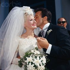 Actress Connie Stevens and her new husband, actor James Stacy, leave the St. Francis De Sales in Sherman Oaks here, after being married in one of the biggest Hollywood weddings in recent years. Get premium, high resolution news photos at Getty Images Celebrity Wedding Photos, Vintage Wedding Photos, Vintage Bridal, Wedding Pics, Celebrity Weddings, Wedding Couples, Wedding Bride, Wedding Styles, Wedding Gowns