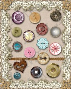 Vintage Buttons Collage Sheet / Etsy Use a variety of buttons. Frame them with lace or vintage fabric or even old paper Diy Buttons, Vintage Buttons, Button Cards, Button Button, Sewing A Button, Sewing Notions, Collage Sheet, Vintage Sewing, Vintage Diy