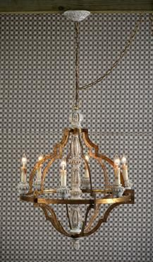 """Mecox Gardens, 25""""diameter x 35""""h  $1350  Loire 6 Light White Washed Wood and Rustic Iron Chandelier."""