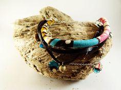 Multi strand bracelet leather jasper Wax tissue  leather