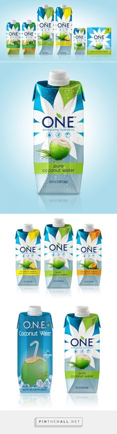 ONE Coconut Water Packaging designed by Voicebox Creative - http://www.packagingoftheworld.com/2015/11/one-coconut-water.html