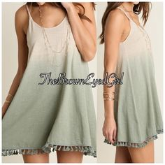 Last 1❣Lovely shades of green tank tunic dress Med Arrives today!!! Lovely shades of green tank/tunic /dress.    Vintage ivory fades to green Flowy- body.      Fringe trimmed Med and large will be $36 Umgee Dresses Mini