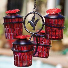 Glass Mosaic Hummingbird Feeder